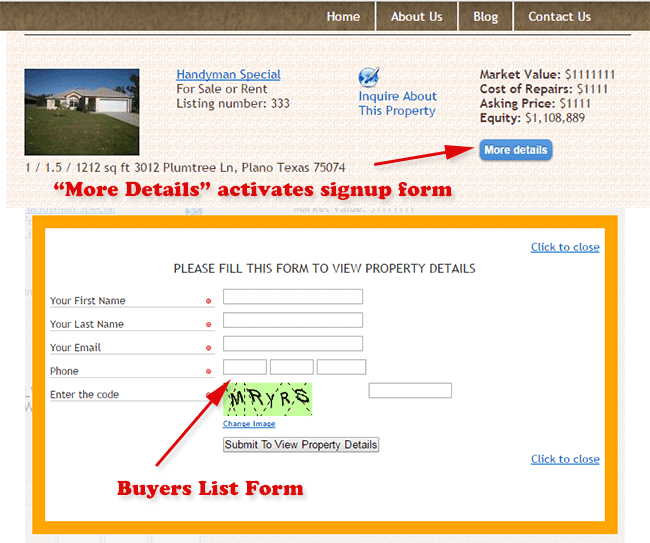 Buyers list form