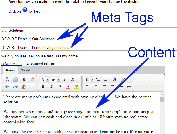 Meta tags & content